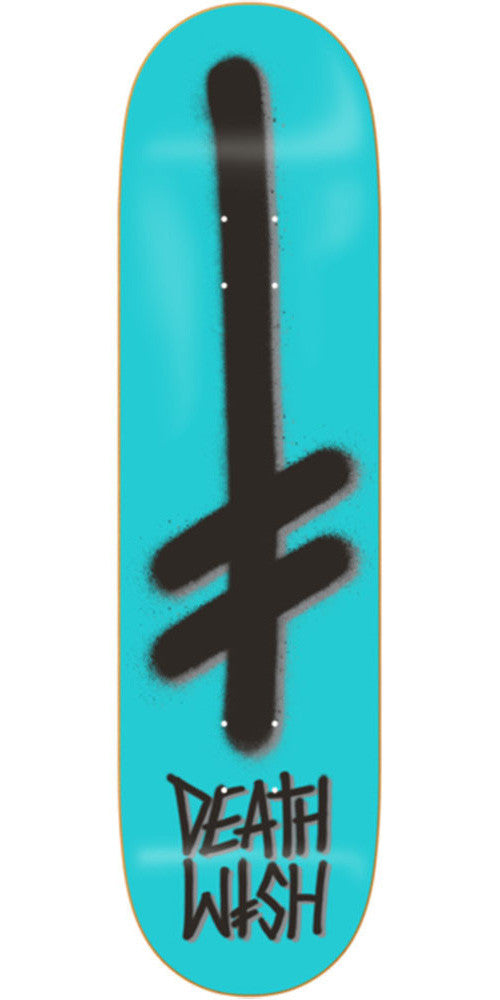 Deathwish Gang Logo Skateboard Deck - 8.38in - Teal/Black