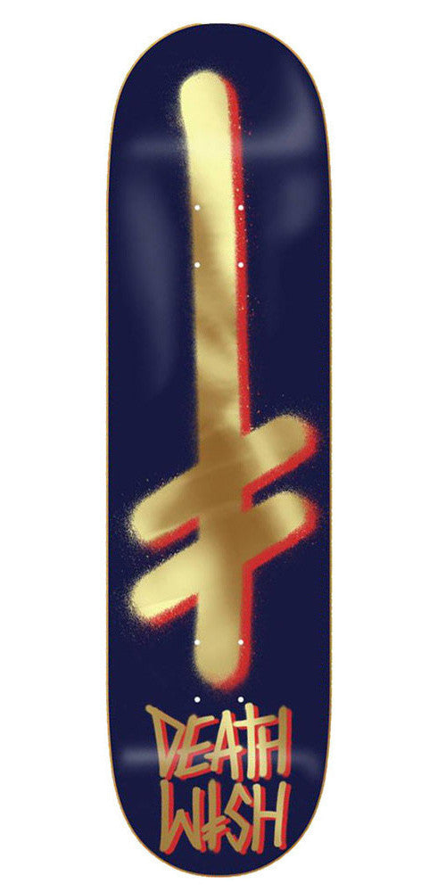 Deathwish Gang Logo Skateboard Deck - 8.0in - Navy/Gold