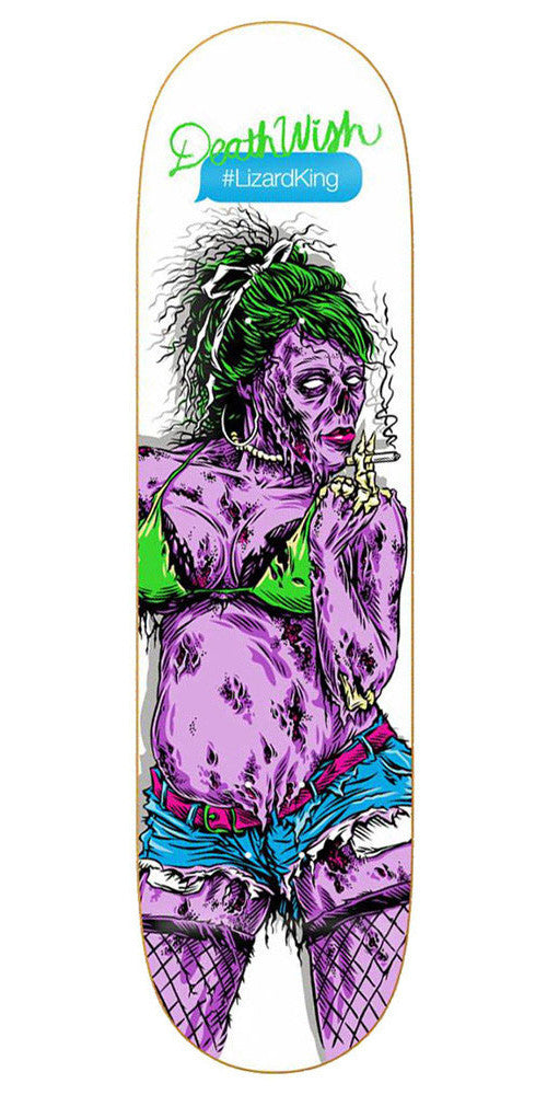 Deathwish Lizard King Ratchet Zombie Skateboard Deck - 8.0in - White