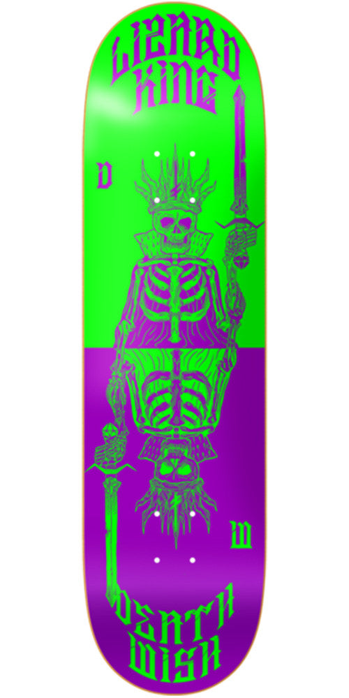 Deathwish Lizard King Cards Skateboard Deck - 7.875in - Green/Purple