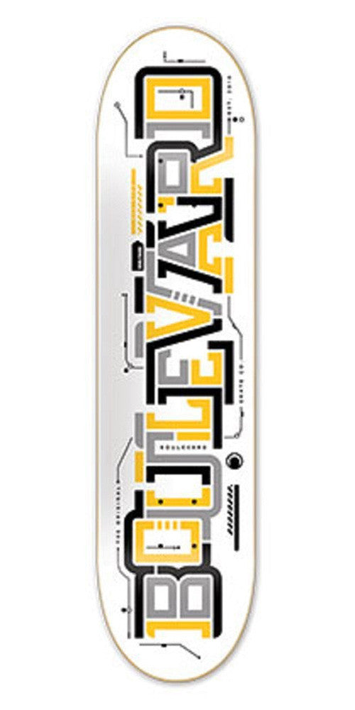BLVD Team Transit Skateboard Deck 8.7 - White/Multi