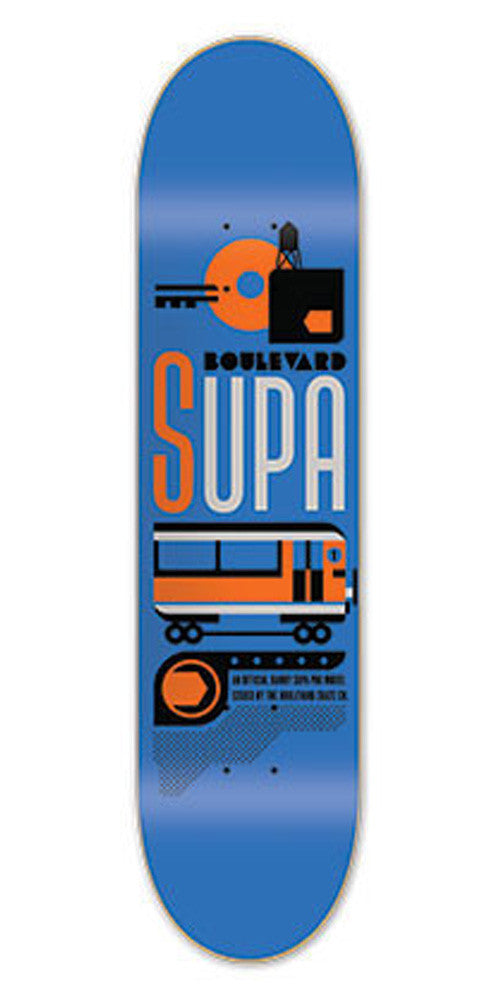 BLVD Art Deco Supa Skateboard Deck - Blue - 8.0