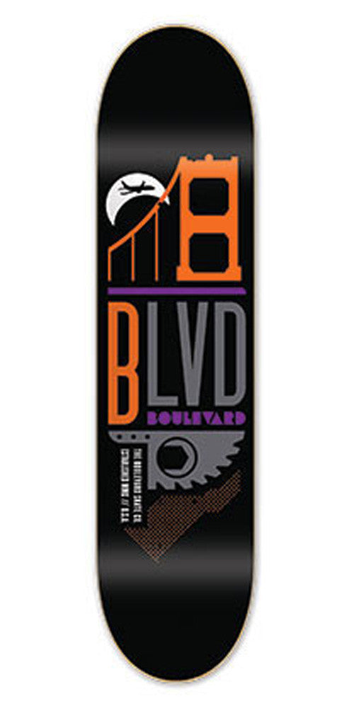 BLVD Art Deco Team Skateboard Deck - Black - 8.3