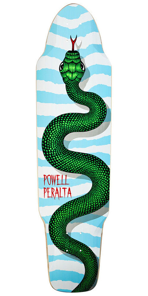 Powell Peralta Snake Pusher Skateboard Deck w/ Clear Grip Tape - Blue/White - 9.25in x 35.125in