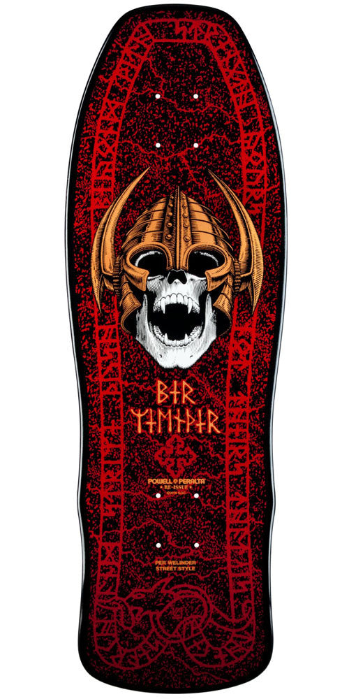 Powell Peralta Per Welinder Nordic Skull Skateboard Deck - Black/Red - 9.625in x 29.75in