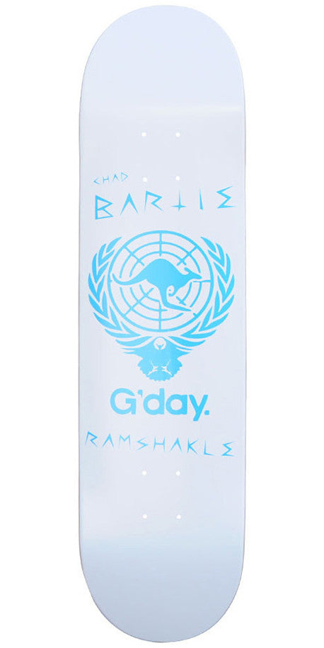 Ramshakle G'Day Bartie Skateboard Deck - White - 8.125
