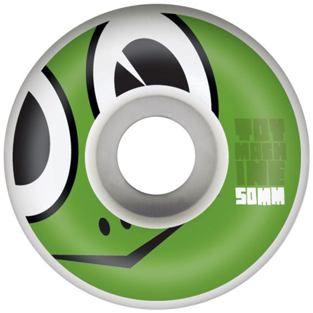 Toy Machine Turtle Face Skateboard Wheels - White - 50mm 100a (Set of 4)
