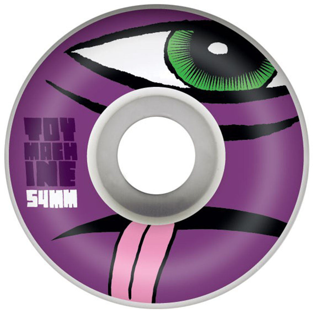 Toy Machine Sect Face Skateboard Wheels - White - 54mm 100a (Set of 4)