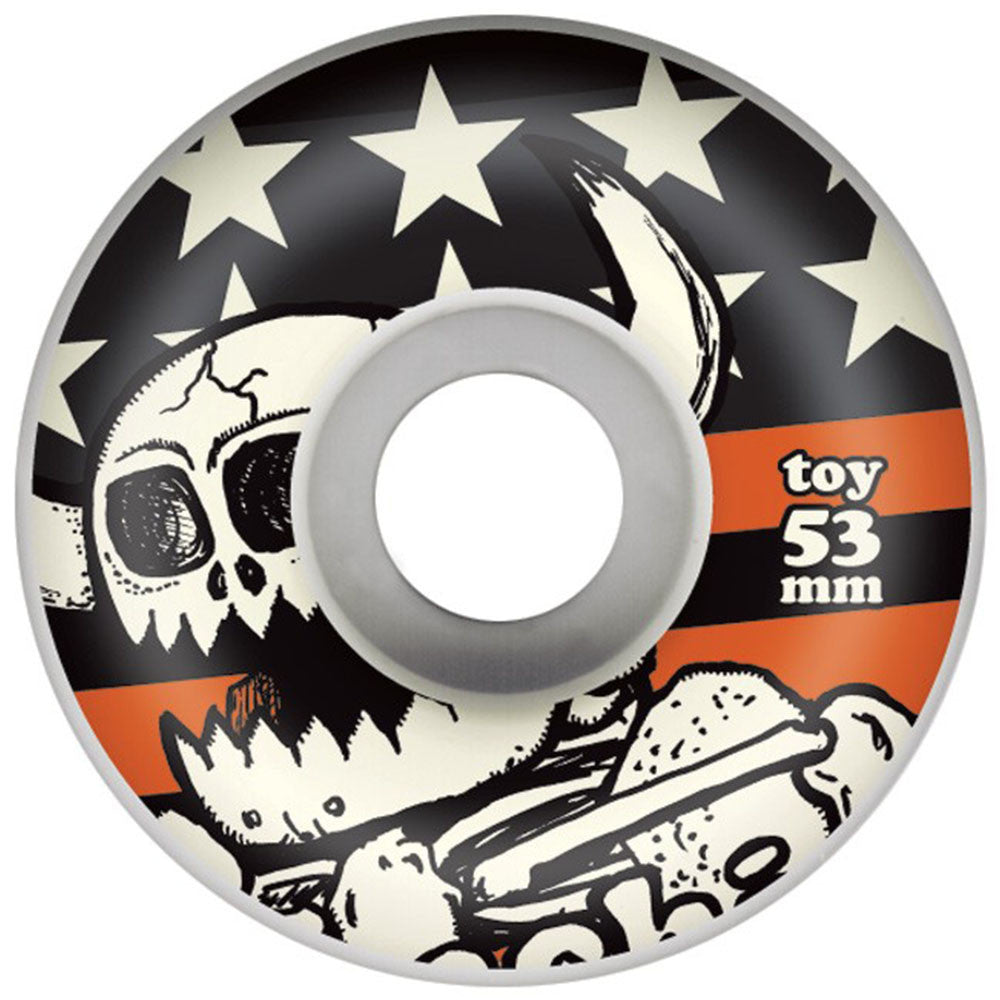 Toy Machine Dead Monster Stars & Stripes Skateboard Wheels - White - 53mm 100a (Set of 4)