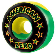 Zero Rasta American Skateboard Wheels 53mm - Green/Yellow Swirl (Set of 4)