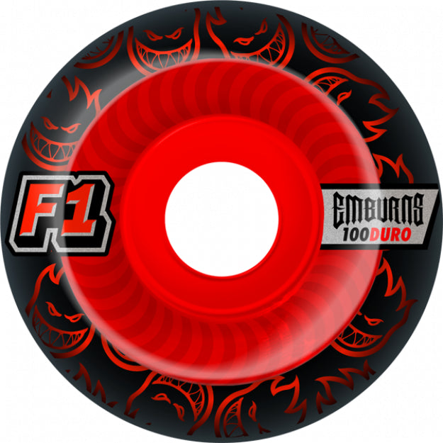 Spitfire F1 Street Burner Emburns Infernos Skateboard Wheels 52mm 100a - Black/Red (Set of 4)