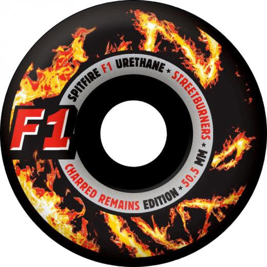 Spitfire F1 Street Burner Charred Skateboard Wheels 50.5mm - Black (Set of 4)