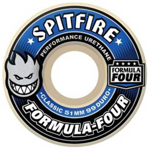 Spitfire Formula Four Classic Skateboard Wheels 54mm 99a - White (Set of 4)