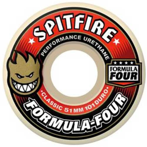 Spitfire Formula Four Classic Skateboard Wheels 52mm 101a - White (Set of 4)