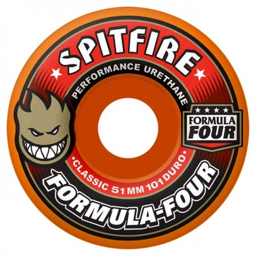 Spitfire Formula Four Classic Skateboard Wheels 52mm 101a - Orange (Set of 4)