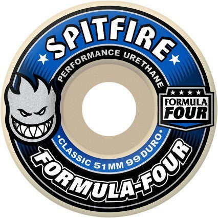 Spitfire Formula Four Classic Skateboard Wheels 56mm 99a - White (Set of 4)