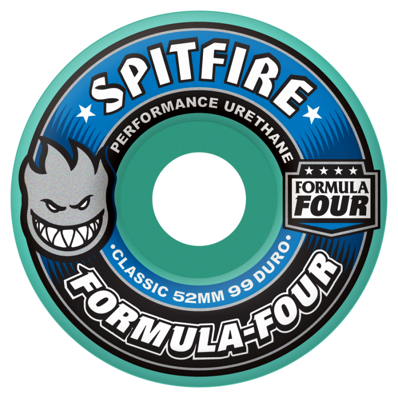 Spitfire Formula Four Classic Skateboard Wheels 52mm 99a - Mint (Set of 4)