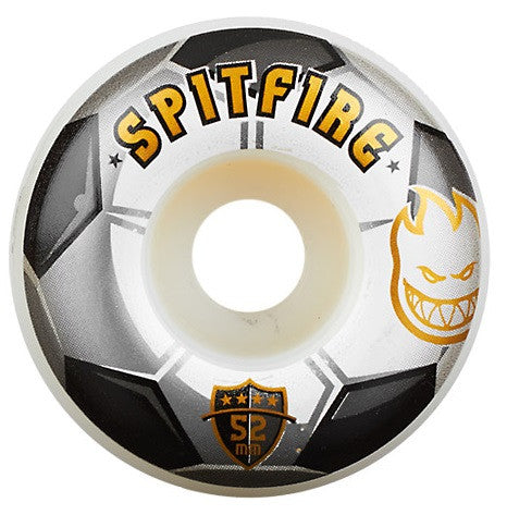 Spitfire Ballers Soccer Skateboard Wheels 52mm - White/BlacK (Set of 4)