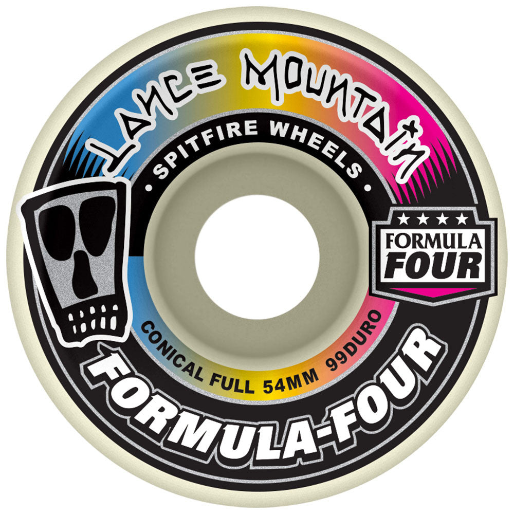 Spitfire Lance Mountain Formula Four Conical Full Skateboard Wheels - White - 54mm 99a (Set of 4)