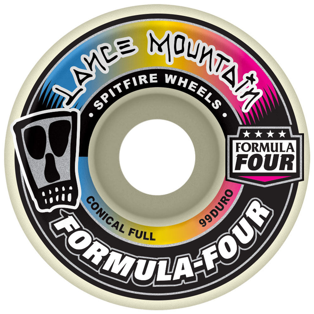 Spitfire Lance Mountain Formula Four Conical Full Skateboard Wheels - White - 58mm 99a (Set of 4)