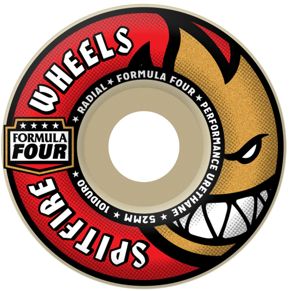 Spitfire Radial Formula Four Skateboard Wheels - White - 52mm 101a (Set of 4)