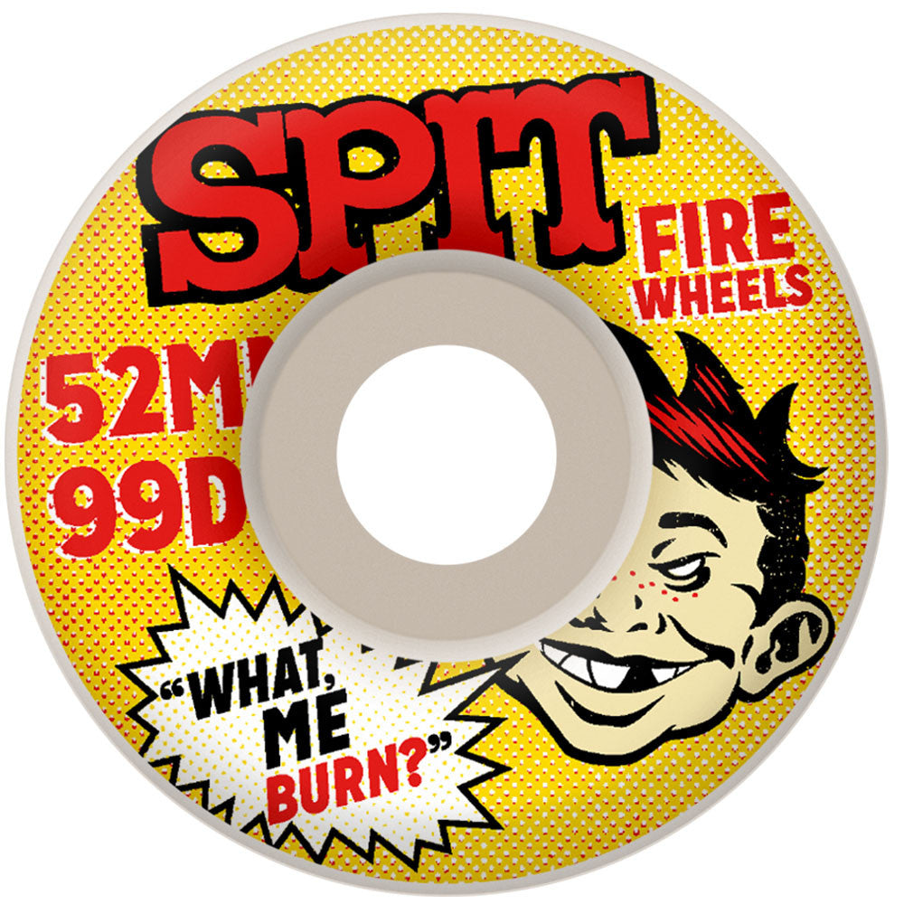 Spitfire What Me Burn Classic Skateboard Wheels - White - 52mm 99a (Set of 4)