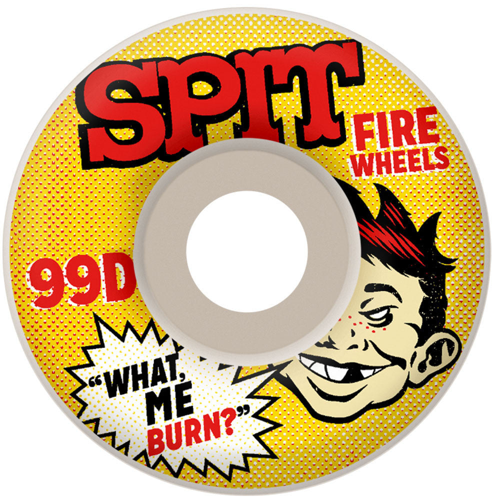 Spitfire What Me Burn Classic Skateboard Wheels - White - 54mm 99a (Set of 4)