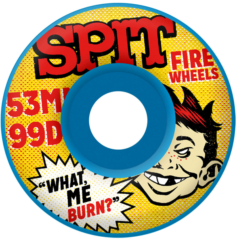 Spitfire What Me Burn Classic Skateboard Wheels - Blue - 53mm 99a (Set of 4)