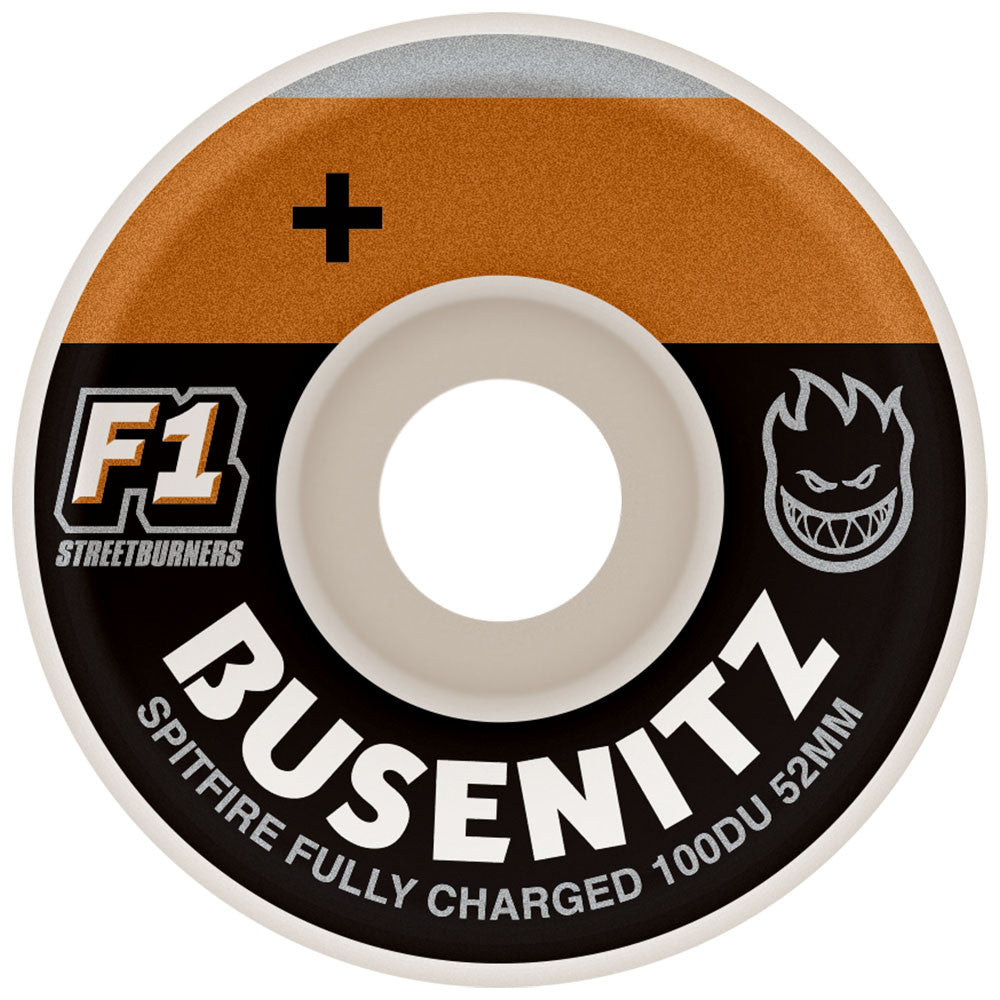Spitfire Busenitz Charged F1 Streetburners Skateboard Wheels - White - 52mm 100a (Set of 4)