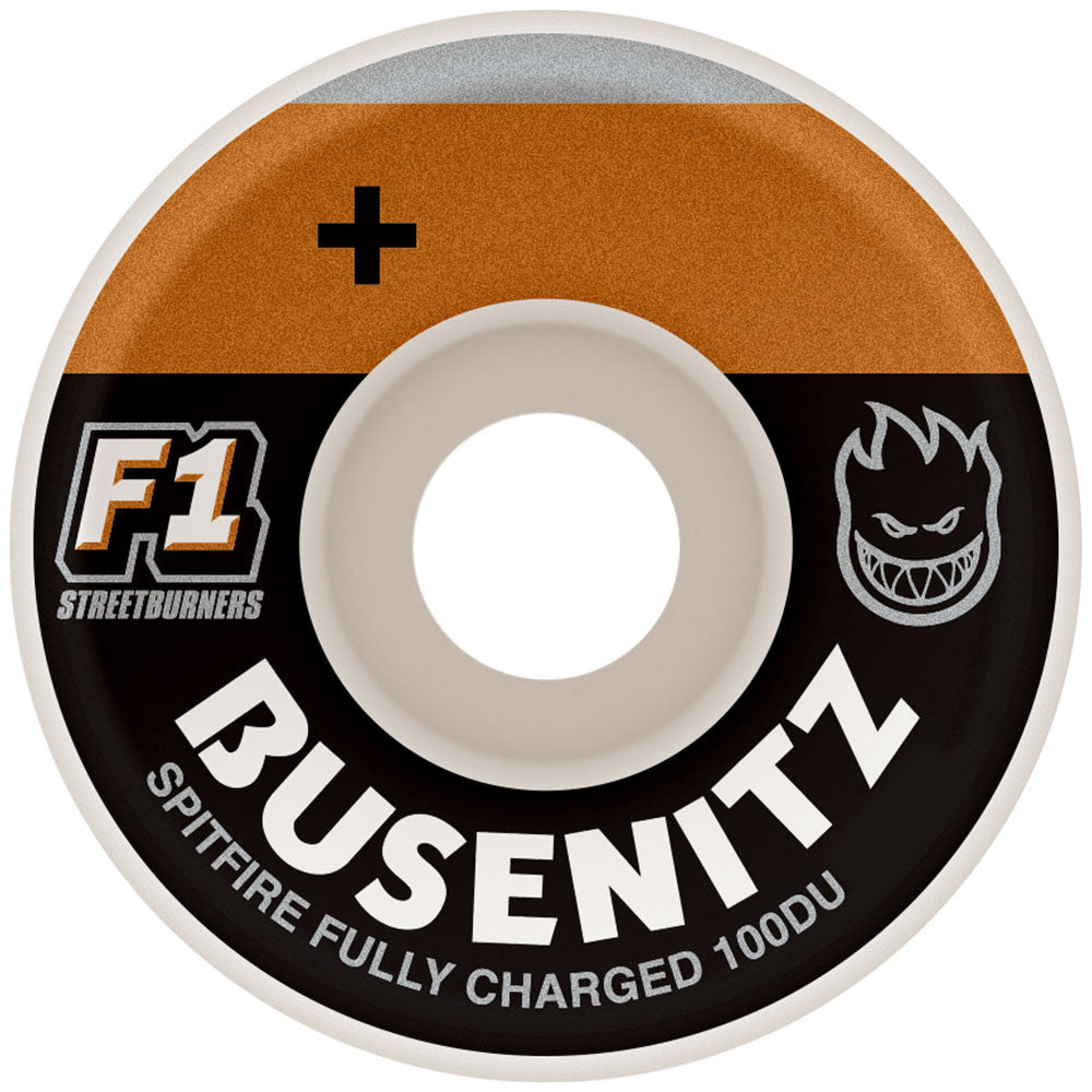 Spitfire Busenitz Charged F1 Streetburners Skateboard Wheels - White - 54mm 100a (Set of 4)