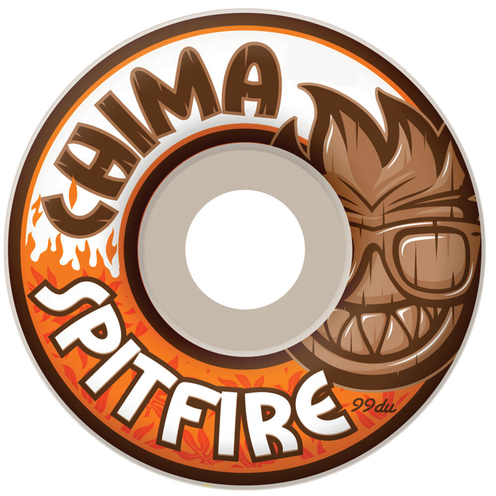 Spitfire Chima Chillout Classic Skateboard Wheels - White - 52mm 99a (Set of 4)