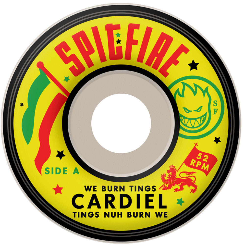 Spitfire Cardiel We Burn Tings Classic Skateboard Wheels - White - 52mm 99a (Set of 4)