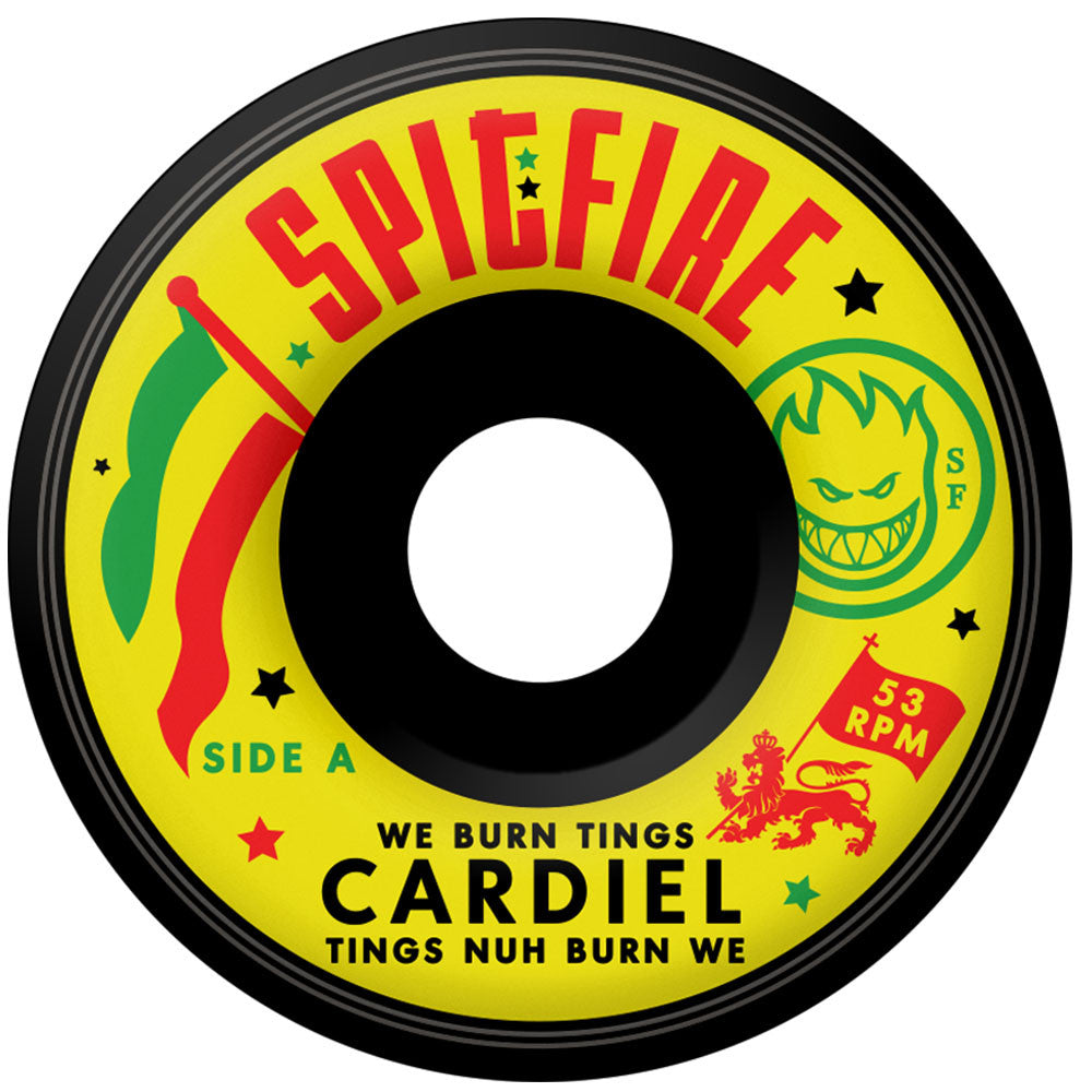 Spitfire Cardiel We Burn Tings Classic Skateboard Wheels - Black - 53mm 99a (Set of 4)