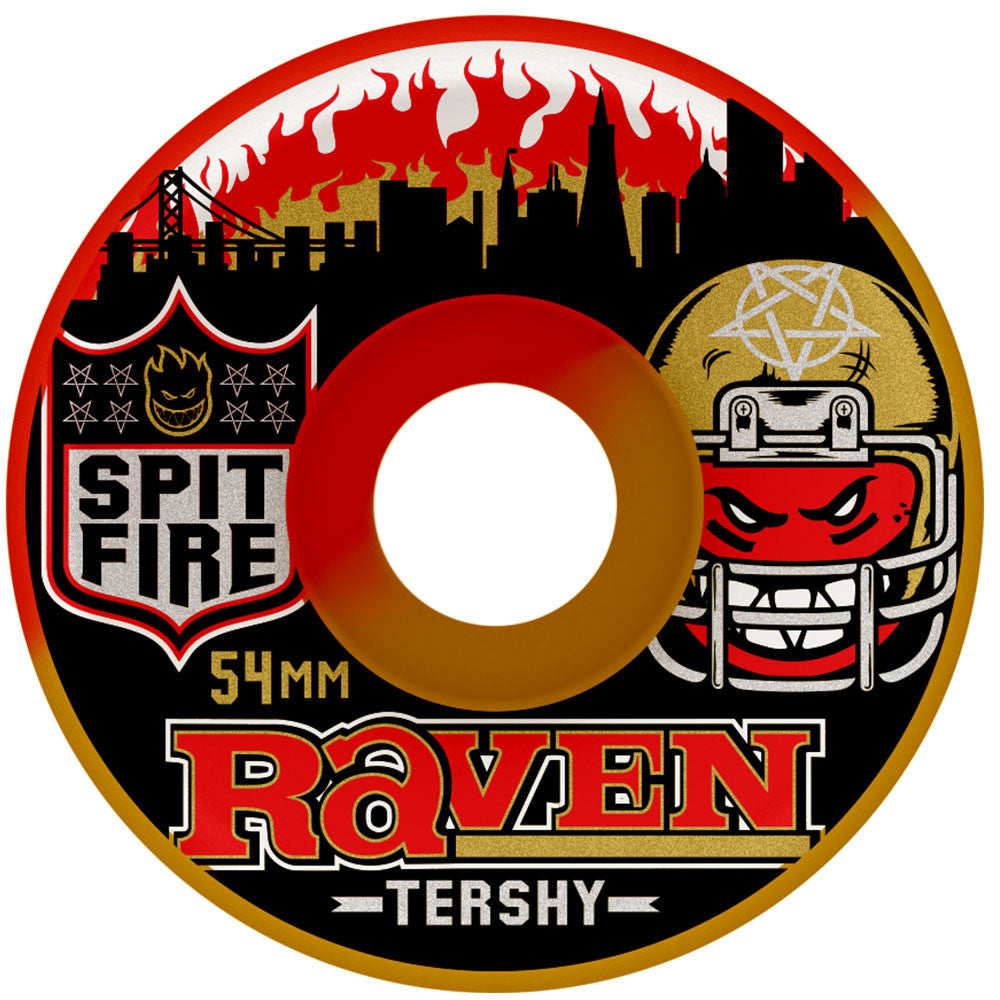 Spitfire Tershy Football Kings Classic 50/50 Swirl Skateboard Wheels - Red/Brown - 54mm 99a (Set of 4)