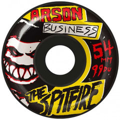Spitfire Arson Business Skateboard Wheels - Black - 54mm 99a (Set of 4)