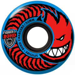 Spitfire 80HD Charger Classic Skateboard Wheels - Blue - 54mm 80a (Set of 4)