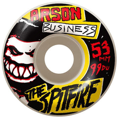 Spitfire Arson Business Skateboard Wheels - White - 53mm 99a (Set of 4)