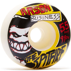 Spitfire Arson Business Skateboard Wheels - White - 55mm 99a (Set of 4)