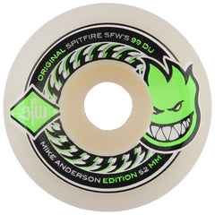 Spitfire Anderson SFW 2 Skateboard Wheels - White - 52mm 99a (Set of 4)