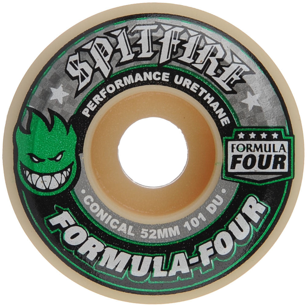 Spitfire Formula Four Conical Skateboard Wheels - White/Green - 52mm 101a (Set of 4)