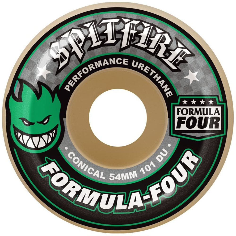Spitfire Formula Four Conical Skateboard Wheels - White/Green - 54mm 101a (Set of 4)