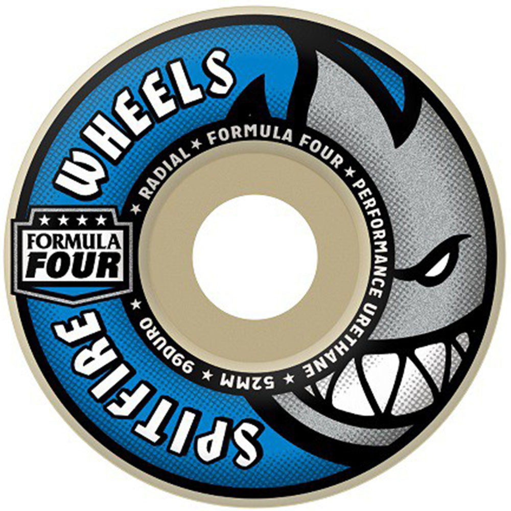 Spitfire Formula Four Radial Skateboard Wheels - White/Blue - 52mm 99a (Set of 4)