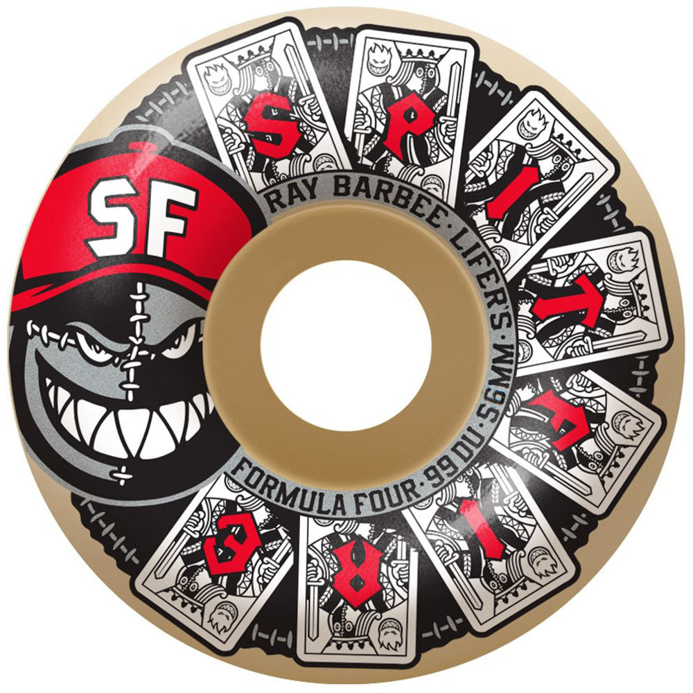 Spitfire Formula Four Ray Barbee Lifer Classic Skateboard Wheels - White - 56mm 99a (Set of 4)
