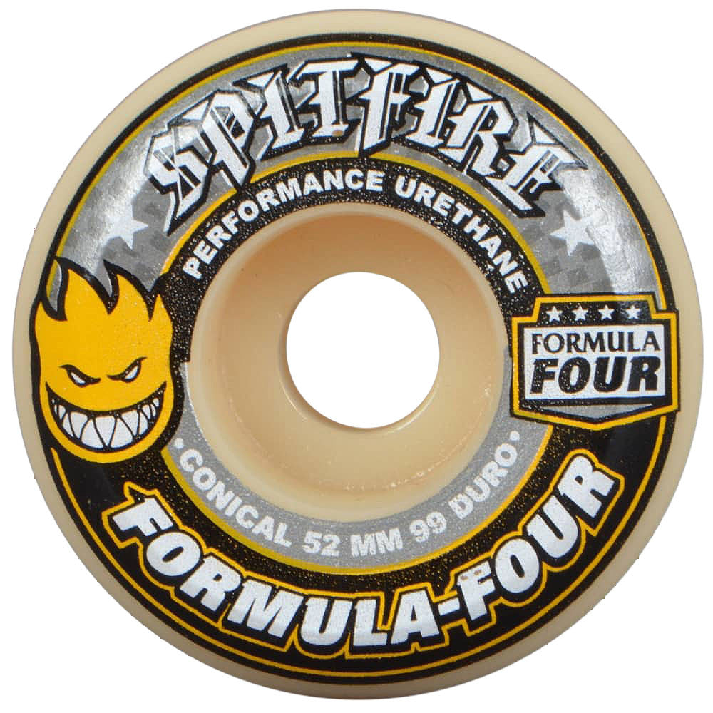 Spitfire Formula Four Yellow Print Conical Skateboard Wheels - Tan/Multi - 52mm 99a (Set of 4)