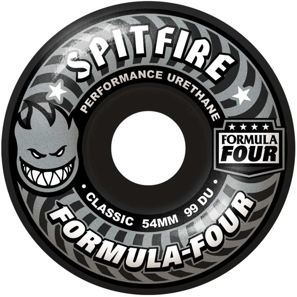 Spitfire Formula Four Shadow Play Classic  Skateboard Wheels - Black - 54mm 99a (Set of 4)
