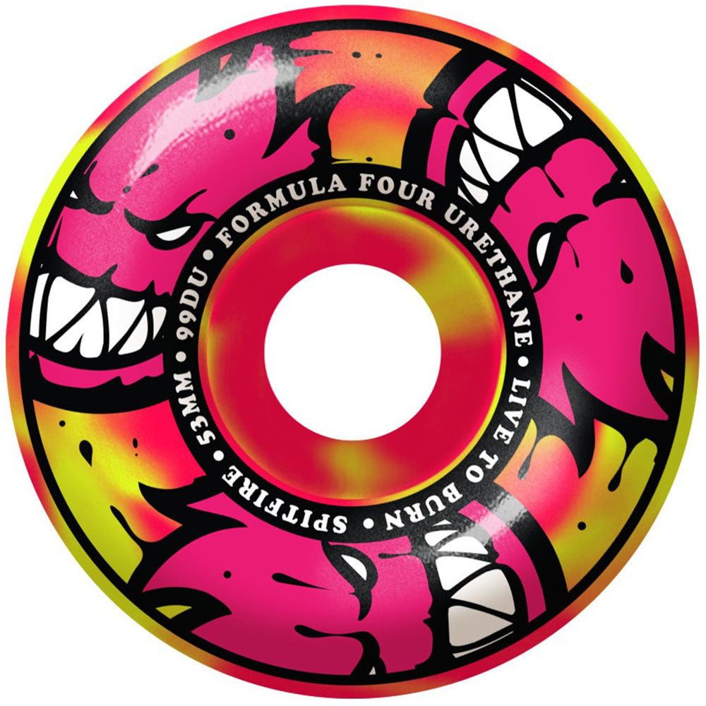Spitfire Formula Four AfterBurners Skateboard Wheels - Yellow/Pink Swirl - 53mm 99a (Set of 4)