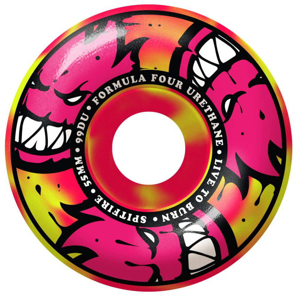 Spitfire Formula Four AfterBurners Skateboard Wheels - Yellow/Pink Swirl - 55mm 99a (Set of 4)