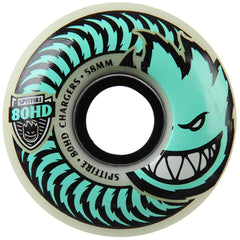 Spitfire 80HD Charger Stay Lit Glow Classic Skateboard Wheels - Green - 58mm 80a (Set of 4)