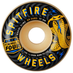 Spitfire Formula Four Radial Slim Speed Kills Skateboard Wheels - Natural- 51mm 99a (Set of 4)