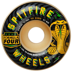 Spitfire Formula Four Radial Slim Speed Kills Skateboard Wheels - Natural - 51mm 101a (Set of 4)